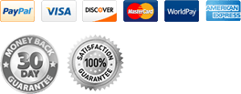 Pay Pal, Visa, Discover Master Card, World Pay, American Express. 30 Money Back Guartantee and 100% Satisfaction for all orders see store for details